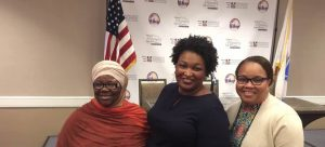 NWPC Treasure Zulfat Suara, Democratic Nominee for Georgia Governor Stacey Abrams and NWPC 1st VP Deidre Malone at NWPC Convention